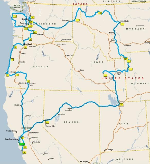 Routekaart USA 2013